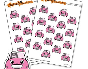 Kawaii Car Planner Stickers Pink - 32 cat road trip stickers for your journal, diary or Erin Condren planner -  sticker sheet