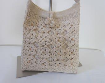 1970s Ecru-Colored Crocheted Shoulder Bag