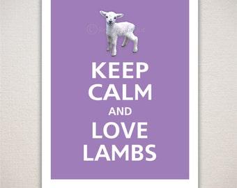 Keep Calm and LOVE LAMBS Typography Animal Art Print