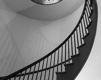 Shaker Village of Pleasant Hill Spiral Staircases, Black and White Spiral Staircase,  Architectural Photography Art Print for Home Decor.