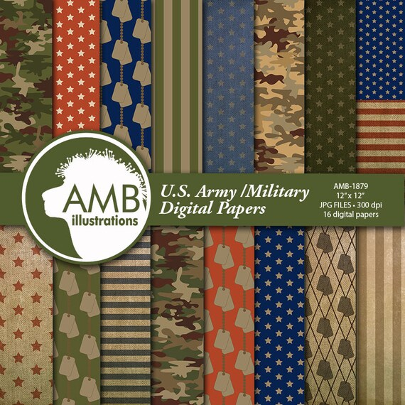Us Army Digital Paper Army Theme Scrapbook Military