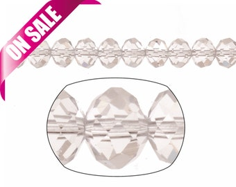 """Crystal bead, facet rondelle, clear, 6x8mm sold per 16"""" string"""