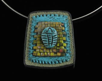 Trilobite Pendant Necklace, Trilobite Brooch, Rustic Handmade Necklace, Science Jewelry, Insect Jewelry, Unique Gift for Women, Girlfriend