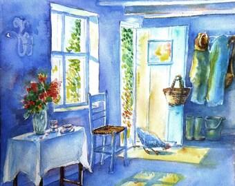 "Watercolour ""Morning Visitor -Summer"" Original  painting, Sunshine, Marron hen, Sugan chair"