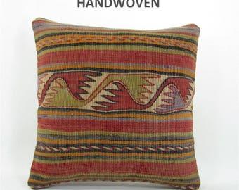 kilim pillow wedding gift vintage pillow throw pillow kilim pillow cover decorative pillow home decor  mom 1031 housewarming gift 16x16