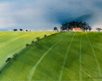 Summer Storm, Watercolor Print, Green Fields, Clouds, Pasture, Countryside