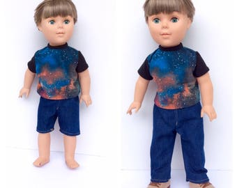 18 Inch Boy Doll Clothes, Galaxy Print T-Shirt with Black Sleeves, Blue Jeans, Jean Shorts, Mix and Match Boy Doll Clothes. Made to Order