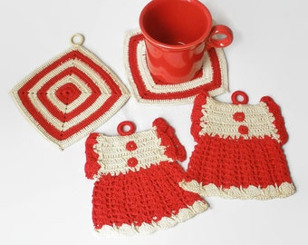 Vintage 1950s Crochet Potholder Hot Pad Trivet Lot Hanging Red Retro Kitchen Decor