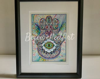 Giclee Print, Hamsa Art, Home Decor, Housewarming, Mothers day, Birthday, Christmas, New Home, Graduation, Engagement, Wedding, Thank you.