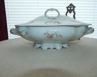 Beautiful Shabby Chic Style Rose Maker Marked  M Z Austria 1900's Comport Casserole Dish