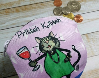 Coin Purse Cat 4x4 Round Pritteh Kitteh Wallet for Coins Earbuds Gift Cards Makeup