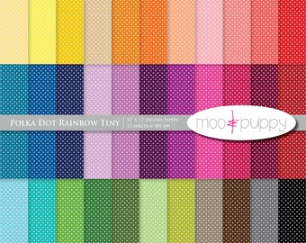 Mega SALE:   Polka Dot Digital Scrapbook Paper Pack  --  Rainbow Polka Dot Tiny -- INSTANT Download