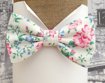 Bow ties for men, Pink and blue floral bow tie, Wedding bow tie, Self tie bow tie, Pre tied bow tie