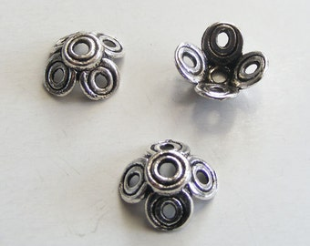Antique Silver 4 Petal Bead Caps 12mm (8pcs) MW-P4351