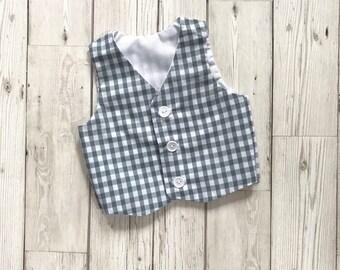 Gingham Waistcoat - Boys Gingham Waistcoat - Grey Boys Waistcoat - Baby Waistcoat - Grey Baby Waistcoat - Boys Christening Outfit