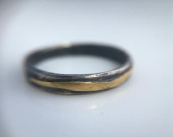 Recycled 18k Gold and Silver Ring~ Recycled Gold and Silver Wedding Bands - rustic wedding bands- organic wedding band- Recycled Gold Rings