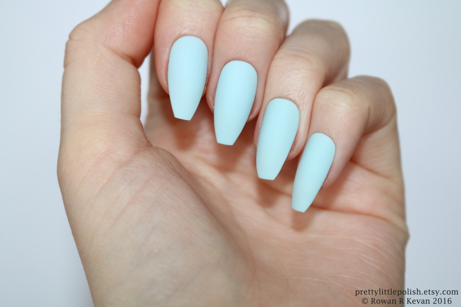Matte pastel blue coffin nails Nail designs Nail art Nails
