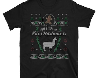 Pet Alpaca Farming All I Want For Christmas Xmas Ugly Sweater Shirt