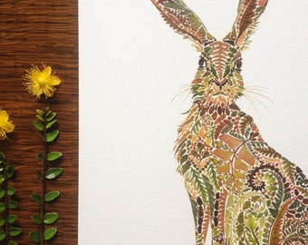 Hare made from pressed Fern- A4 Giclée Print - Limited edition and hand finished - Herbarium Rabbit Artwork Botanical - LAST AVAILABLE PRINT