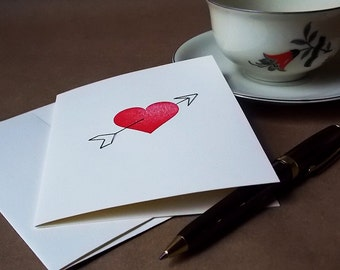 Heart & Arrow - Valentine's Day hand stitched blank greeting card. Free shipping within the US.