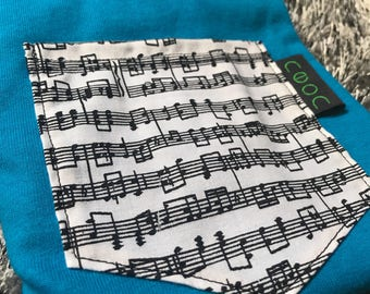 Small music note pocket tee