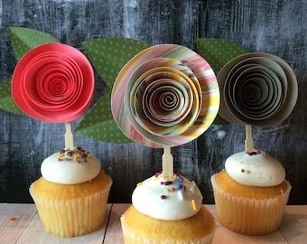 Santa Fe Rose Cupcake Toppers, Set of 12