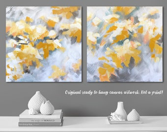 "20x40"" Yellow canvas wall art yellow gray abstract art Yellow gray bedroom Yellow gray painting Birch canvas art Yellow tree art"