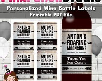 Personalized DIY Printable Prohibition Vintage Style Wine Bottle Label PDF File