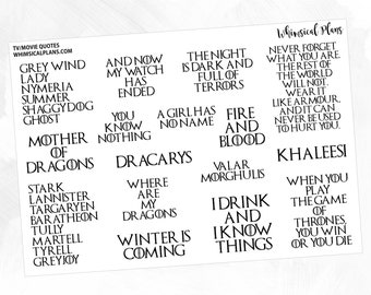 GoT FOIL TV/Movie Quotes | Matte Glossy Clear Foiled Planner Stickers