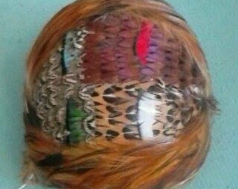 Absolutely Gorgeous 50s Multi Color Pheasant Topper Hat with Hidden Headband