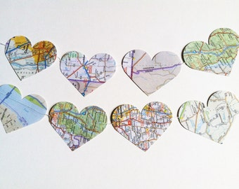 10 ft | Vintage Paper Map Heart Garland | Weddings | Nursery | Engagement Photos