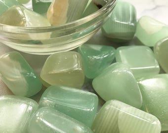 Green Calcite, (Natural), Tumbled Stone, 1 Piece, Chakra, Reiki, Pagan, Magic, Manifesting, Protection