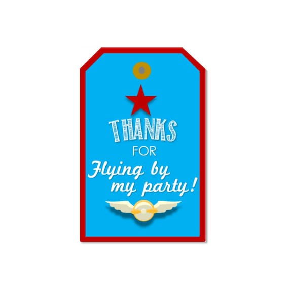 Airplane Birthday Party Favor Tags: DIGITAL DOWNLOAD Retro Airplane Birthday Favor Tags Pilot