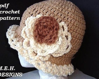 Adult hat, CROCHET PATTERN, No. 86.  Frilly Edge Flapper Hat . Crochet flower.  Fits teens and adults.