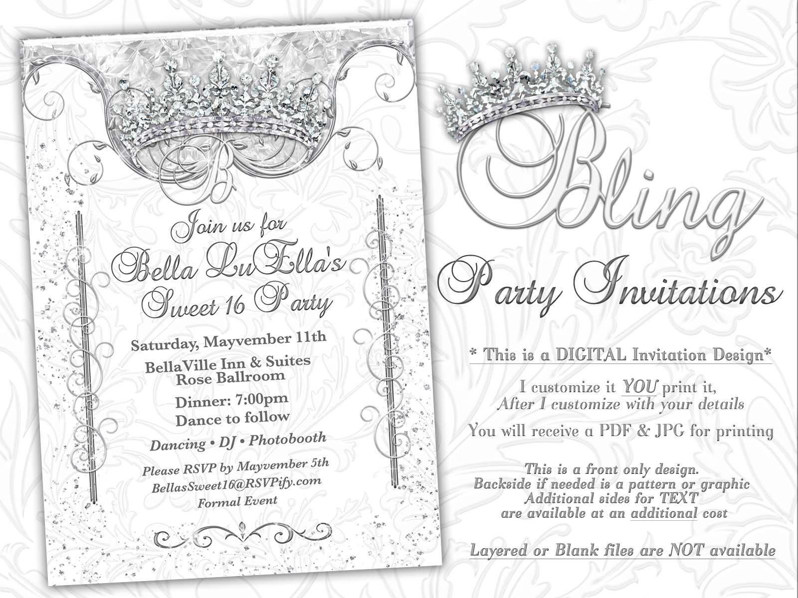 Bling diamond party invitations quinceanera invitation party bling diamond party invitations quinceanera invitation party invitations sweet 16 party mis quince anos white diamond bling theme stopboris Gallery