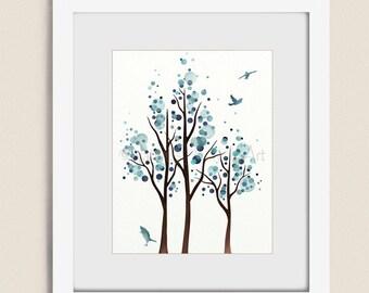 Watercolor Tree Art Print, 11 x 14 Blue Wall Art for House Decor, Bedroom or Bathroom Wall Art, Living Rom Art  (112)