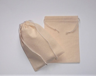 "15 Muslin Cotton Pouches * 100% Cotton Plain Drawstring Bags * Gift Bags * Wedding Gift Pouches * 3"" x 4"" ( 8cm x 10cm )"