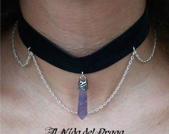Black velvet choker with amethyst pendant