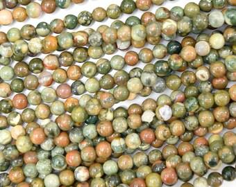 "4mm green rhyolite round beads 15.5"" strand 38393"