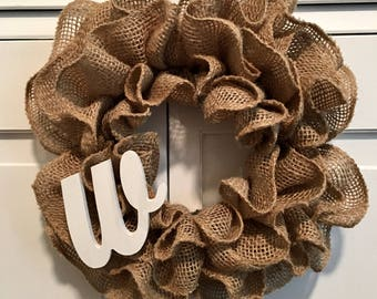 Mini Ruffled Burlap Wreath w/ Small Initial - 8in - Personalization Available - Craft - Spring - Summer - Autumn - Thanksgiving - Christmas