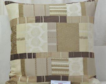 "Fryetts Prague Natural Patchwork Chenille Cushion Cover 20"" x 20"""