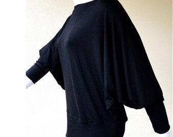 Dolman sleeve shirt, organic cotton  top, sloped shoulder top, black  top
