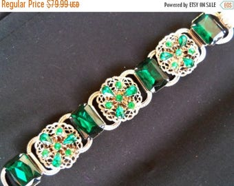 ON SALE 1950's Green Rhinestone Bracelet Collectible Jewelry Mad Men Mod Black Tie Formal Hollywood Regency Rockabilly Accessories
