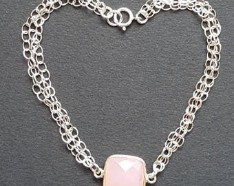 GAId - Pink quartz and Sterling Silver 925