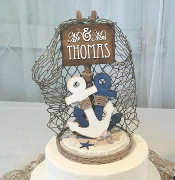 Nautical Cake Topper Anchor Cake Topper Nautical Party