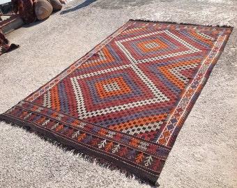 "Lovely embroidered kilim rug, 113"" x 72"" Vintage Turkish kilim rug, area rug, kilim rug, kelim rug, vintage rug, bohemian rug, dark, 559"