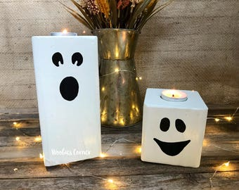 Halloween candle holder, Wooden ghost, Halloween Decoration, Rustic halloween decor, Halloween candle pillar, Halloween candles with face