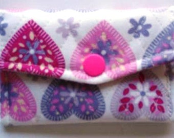 Quilted fabric card wallet / small purse Handmade
