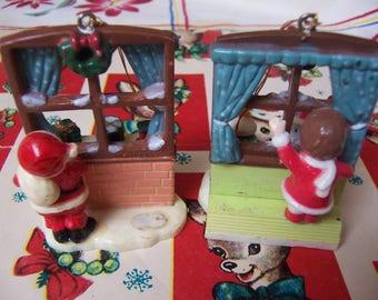 little plastic peeking holiday ornaments