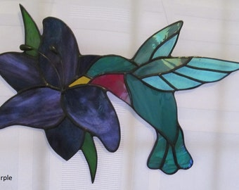 Hummingbird with Lily Stained Glass Suncatcher